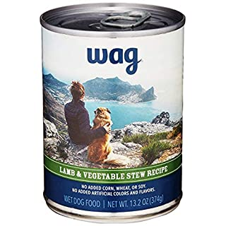 Amazon Brand - Wag Wet Canned Dog Food, Lamb & Vegetable Stew Recipe, 13.2 oz Can (Pack of 12)