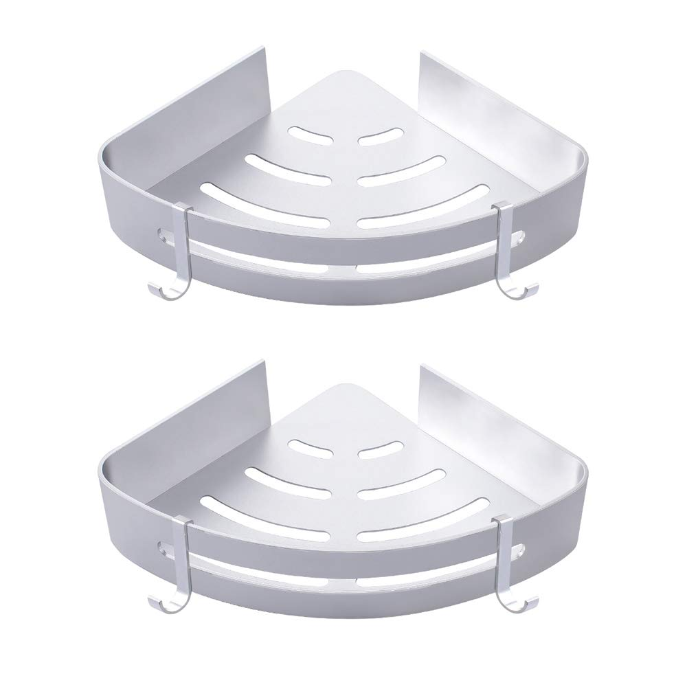 Gricol Bathroom Shower Shelf Wall Shower Caddy Space Aluminum Self Adhesive No Damage Wall Mount, 2 Pack
