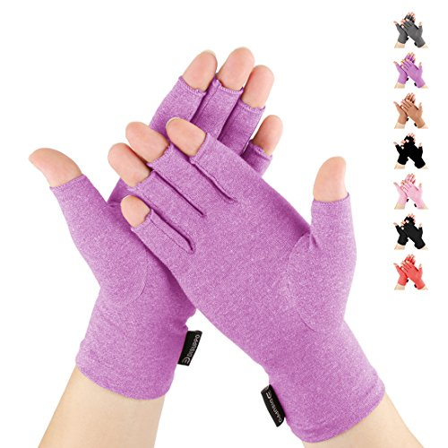 DISUPPO Arthritis Gloves Women and Men Relieve Pain from Rheumatoid, RSI,Carpal Tunnel, Compression Gloves Fingerless for Computer Typing, Dailywork, Hands and Joints Pain Relief (Purple, Large)