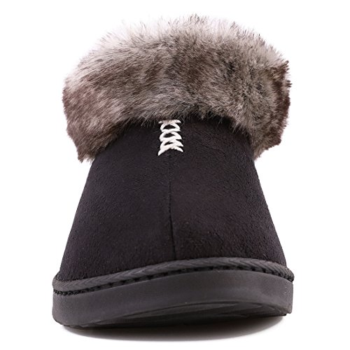 Fur Non House Indoor Slippers Suede Memory Lined Micro Cozy Black Foam Skid Faux Women's Fleece Fluffy Sole Outdoor Shoes with Px68Rw