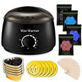 Wax Warmer, Professional Hair Removal Waxing Kit + 4 Scents Hard Wax Beans(3.5oz/Pack) + 20 Wax Applicator Sticks + 5 Protective Collars + 5 Small Bowls (Professional-grade Home Wax Kit)