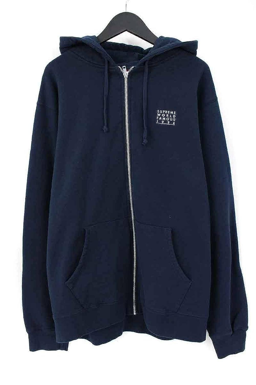 (シュプリーム) SUPREME 【18SS】【World Famous Zip Up Hooded Sweatshirt】チェスト刺繍ジップアップパーカー(XL/ネイビー) 中古 B07DXPH44F  -