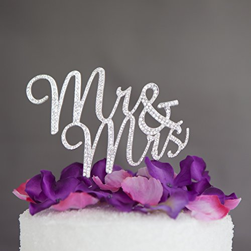Groom Cake Top - Ella Celebration Mr and Mrs Wedding Cake Topper Rhinestone Monogram Decoration Cake Toppers (silver)
