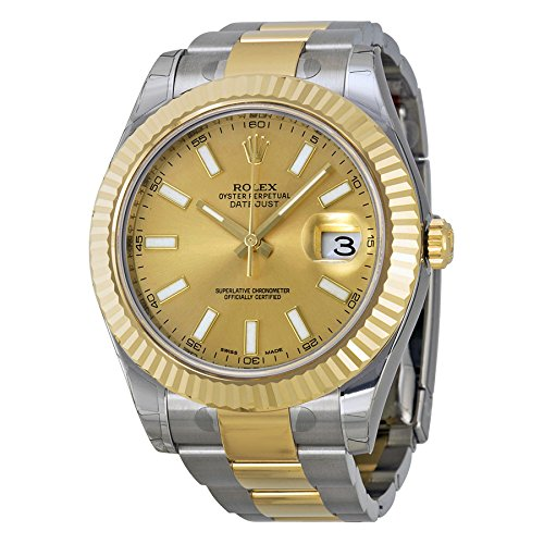 Rolex Datejust II Champagne Dial 18k Two-tone Gold Mens Watch 116333CSO (Rolex Sky Dweller Rose Gold Leather Chocolate Dial)