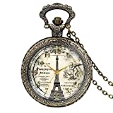 JewelryWe Retro Vintage Pocket Watch Bronze Eiffel Tower Quartz Pocket Watch Necklace Pendant Birthday Gift