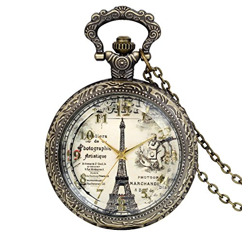 JewelryWe Eiffel Tower Pocket Watch Retro Vintage Bronze Quartz Watch Necklace Pendant Birthday Gift from JewelryWe