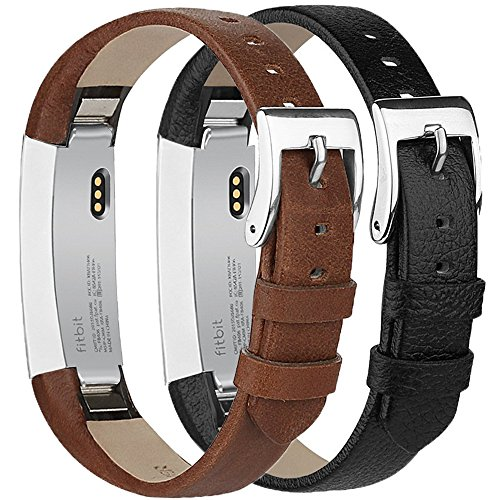 - Tobfit Compatible for Fitbit Alta HR and Alta Leather Replacement Bands [2 PACK], Black, Coffee Brown, 5.5''-8.1''