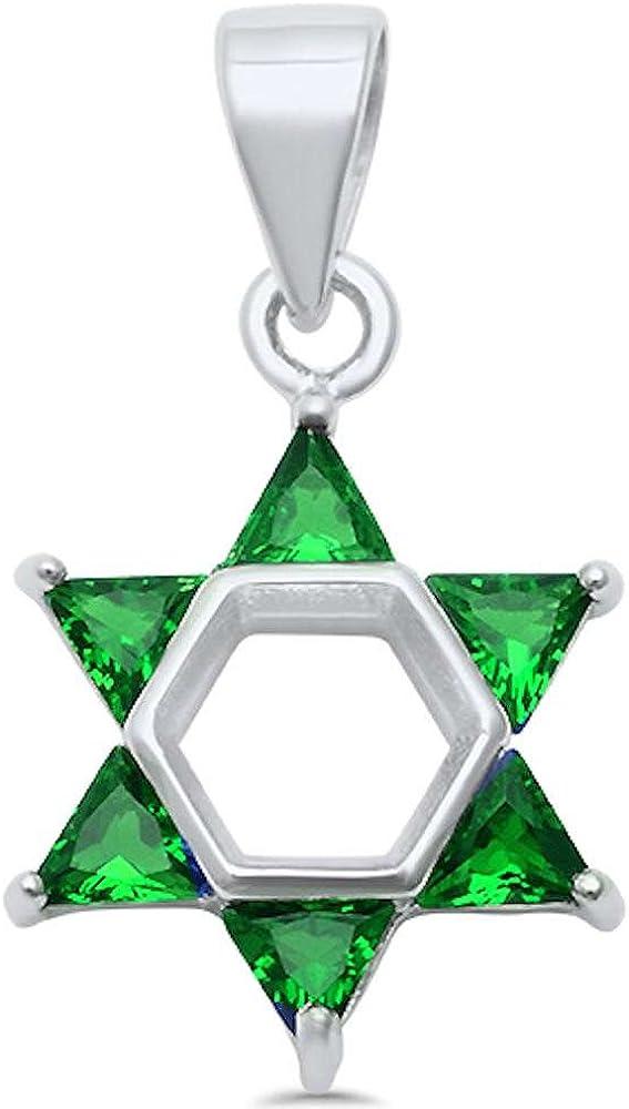 Oxford Diamond Co Round Simulated Emerald Pendant .925 Sterling Silver Pendant Necklace