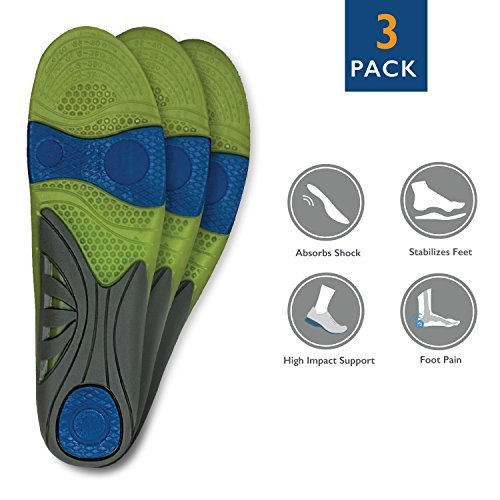 3 Pack Full Length Orthotic Insole/ Insert Relieve Pain Althletic Value Unisex Men US 8-12/Women US 10-14 Gel Firm Full Impact Support (670)