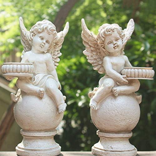 庭の装飾エンジェルキューピッドローソク足防水樹脂庭の庭の風景芝生の装飾工芸品ギフト-2ピースA