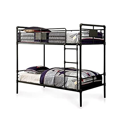 Amazon Com Furniture Of America Bryon Queen Over Queen Bunk Bed In