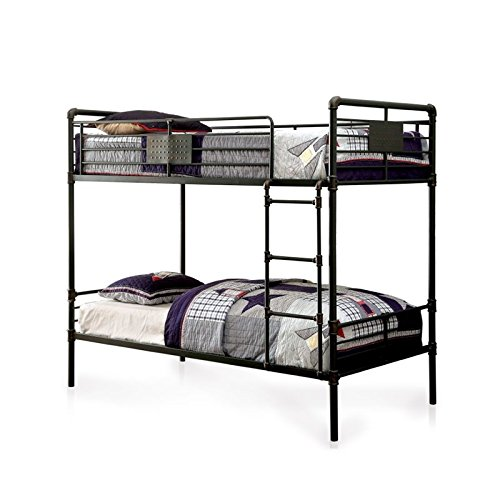 BOWERY HILL Full Over Full Bunk Bed in Antique Black