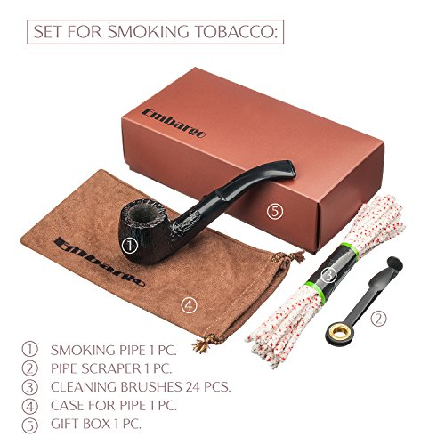 Original Tobacco Smoking Pipe Set. Pipe Material - Carpathian Beech, Tube With Cooler. 3-in-1 Pipe Scraper. 24 Pipe Cleaners. Full Set For Smoking!
