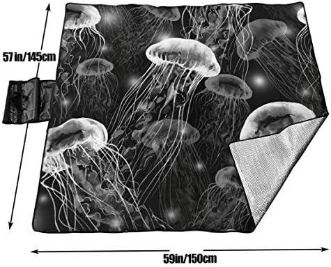 Suo Long Grande Coperta da Picnic Magiche Meduse Sott'Acqua Tote da Spiaggia Antisdrucciolevole Tote per Campeggio Escursionismo Erba in Viaggio