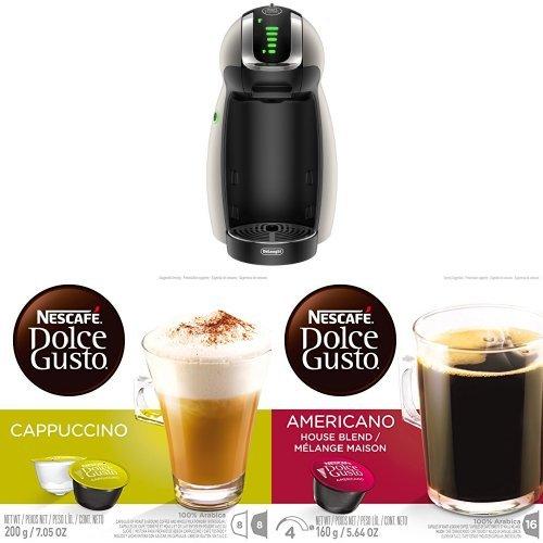 DeLonghi Nescafe Dolce Gusto Genio Coffeemaker with Nescafe Dolce Gusto Brewers, Cappuccino(48 Count) and Americano (48 Count)
