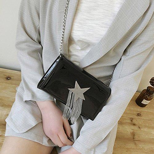 ABBY Féminine Verni Mode Sac Femme Brillant Petit Marée Messenger Epaule Paquet Sacoche Noir Carré d'Embrayage Cuir Sac Printemps en Chaîne Décontractée HpXxOHnrq
