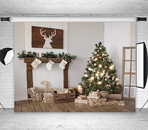 LB Christmas Fireplace Backdrop 7x5ft Vinyl Christmas Tree Stove Backdrops for Photography Newborn Kids Family Portrait Photo Booth Studio Props (Backdrops Rolled)