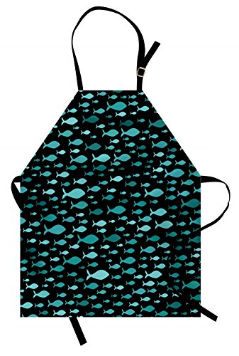 Lunarable Fish Apron, Underwater Animals Swimming Silhouette Marine Life Sea Ocean Kids Nursery, Unisex Kitchen Bib Apron with Adjustable Neck for Cooking Baking Gardening, Teal Dark Teal Black by Lunarable