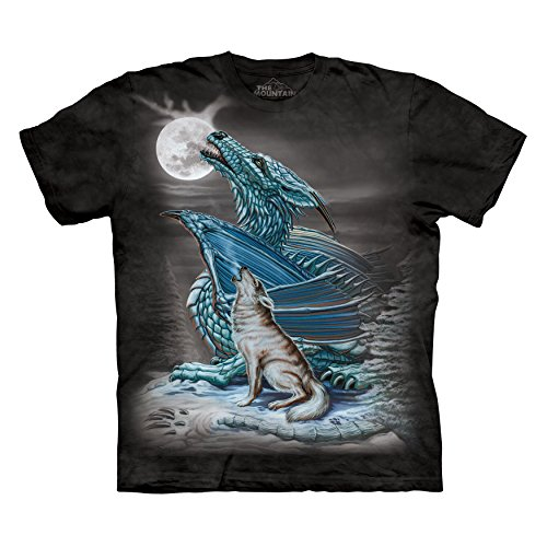 - The Mountain Men's Dragon Wolf Moon T-Shirt Black S