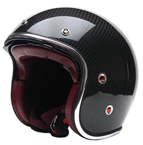 Motorcycle Open Face Carbon Fiber Helmet DOT Approved - YEMA YM-628 Motorbike Moped Jet Bobber Chopper Crash 3/4 Helmet with Sun Visor for Men Women Adult Street Bike Scooter Cruiser - Large (Mx Gloves Switch)