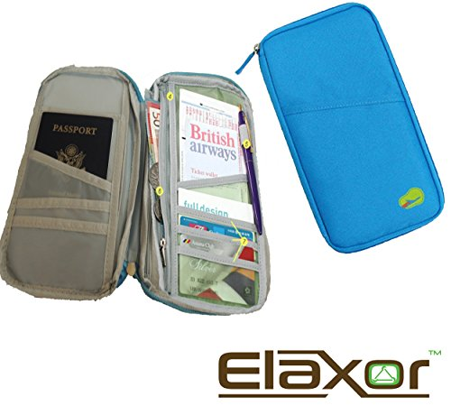 ElaxorTM Compact Waterproof Multi-Functional Zippered Passport, cards, cash and Travel Document Organizer Wallet Case (Blue)