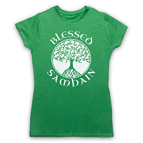 Blessed Samhain Gaelic Festival Camiseta para Mujer Verde