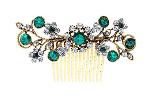 - Vogue Hair Accessories Exclusive Collection Wedding Party Fancy Bridal Comb Hair Clip (Green)