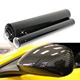 YTYC Black Premium High Gloss Carbon Fiber Vinyl Wrap Air Release Bubble Free