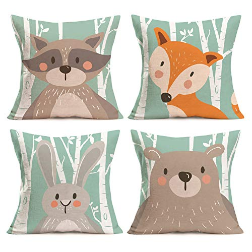 Raccoon Cartoon Animal - Easternproject Cartoon Adorable Animal Rabbit Bear Fox Raccoon Decorative Cotton Linen Throw Pillow Case Cushion Cover Home Sofa Square Pillowcase 18''x18'' Set of 4 for Baby's Room Kindergarten