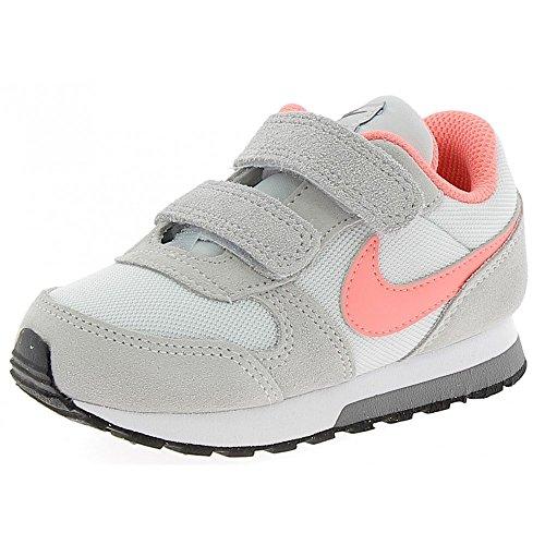 Nike Md Runner 2 (Tdv), Zapatillas para Niñas Gris-Rojo-Rosa