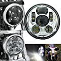 """Silver 5.75"""" 5-3/4 Inch LED Headlight Projector with Hi/Lo Beam Motorcycle Headlamp for Harley Davidson"""