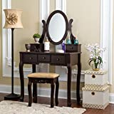 Fineboard HFB-VT07-BN Single Mirror Dressing Set Five Organization Drawers Vanity Table with Wooden Stool, Brown