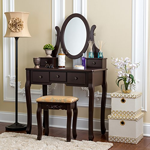 Fineboard HFB-VT07-BN Single Mirror Dressing Set Five Organization Drawers Vanity Table with Wooden Stool, Brown (Under Bedroom $100 Vanity Sets)
