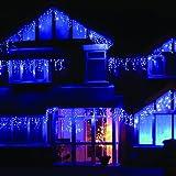 LEDwholesalers 16.4-Feet 120-LED Icicle Christmas Holiday Lights with White Wire, Blue, X059BU