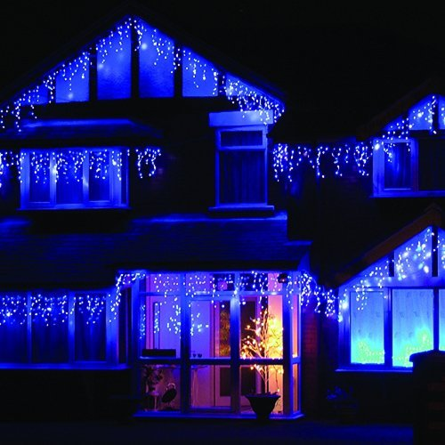 LEDwholesalers 16.4-Feet 120-LED Icicle Christmas Holiday Lights with White  Wire, Blue - Blue LED Christmas Lights Icicle: Amazon.com