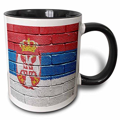 "3dRose mug_156982_4 ""National flag of Serbia painted onto a brick wall Serbian"" Mug, 11 oz, Black"