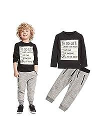 LUNIWEI Boys 2PCS/Set Outfits Sports Black Tops + Gray Trousers