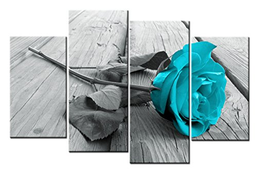 4 Pieces Teal and Grey Canvas Art Decoration, Rose in Teal Modern Home Decor