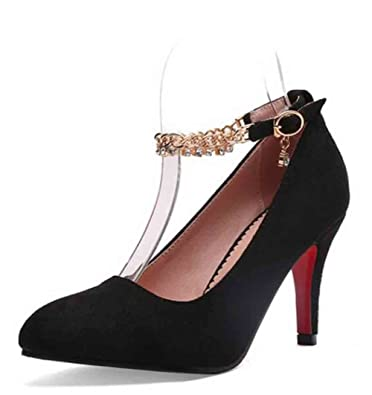 f9be6d4b6 Easemax Women s Elegant Faux Suede Rhinestones Chains Ankle Buckle Straps  Pendant Pointed Toe High Stiletto Heel