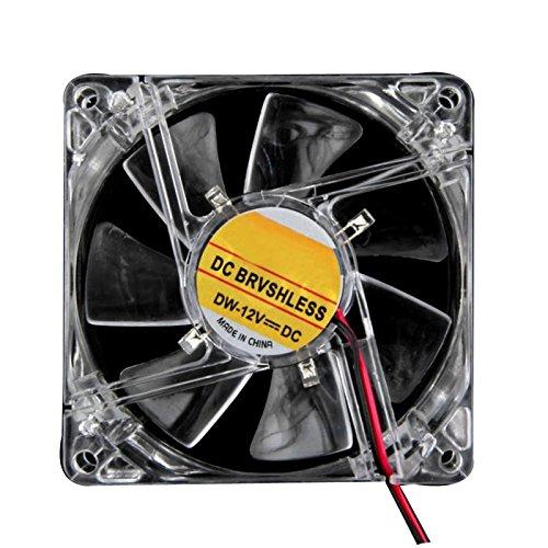 SODIAL(R) Fan Size: 80x80x25mm Colorful Quad 4-LED Light Neon Clear 80mm PC Computer Case Cooling Fan heatsink fan Best 80 Mm Case Fan