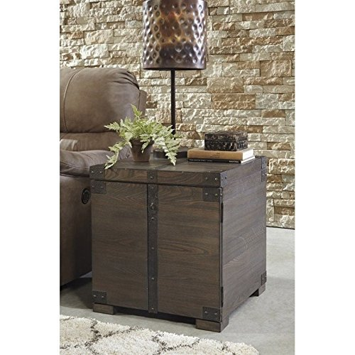 Signature Design by Ashley T846-2 Burladen Square End Table, Washed Gray Brown Finish