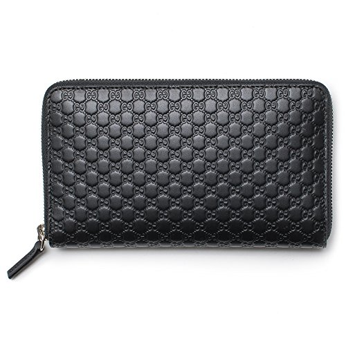 Gucci Black Wallet GG Guccissima Mini GG Large Zip Around Continental Box Leather Italy Bag New ()