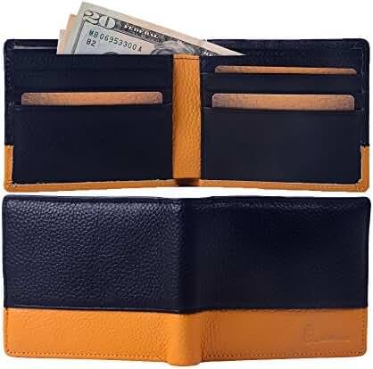 8Sanlione Mens Wallet Genuine Leather RFID Blocking Slim Pocket Wallet Money Clip …