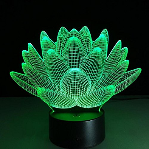CARYY 3D LED Illusion Lamp, 7 Colors Remote Control Dimensional Visual Lotus Light, Optical Night Lights, Decoration Atmosphere Table Lamps, Children Christmas Birthday Gifts