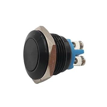 Wasserdicht IP67 18mm Drucktaster schwarz Klingelknopf Schraubanschluß Hupe