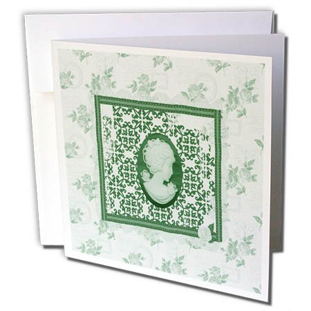 3dRose Beverly Turner Cameo Design - Green Cameo in Damask Frame, Rose Background - 6 Greeting Cards with envelopes ()