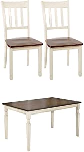 Signature Design by Ashley D583-02 Dining Chair, Beige with Ashley D583-25 Whitesburg Collection Dining Room Table, Brown/Cottage White