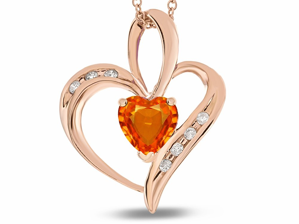 Star K Heart Shape 6mm Simulated Orange Mexican Fire Opal Pendant Necklace 10 kt Rose Gold by Star K (Image #1)
