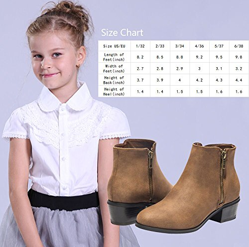 Luoika Short Ankle Boots For Girls, Winter Spring Chunky Block Stacked Heels Round Toe Slip On Waist Zipper Ankle Boots For Big Kids Black Brown Khaki