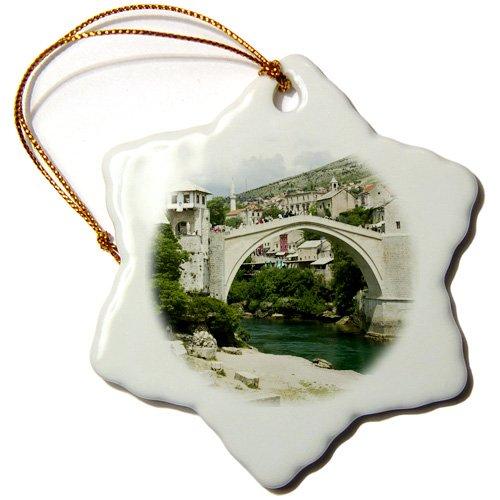 3dRose orn_82890_1 Bosnia-Hercegovina, Mostar, Old Bridge Stari Most-Eu44 Wbi0117-Walter Bibikow-Snowflake Ornament, 3-Inch, Porcelain